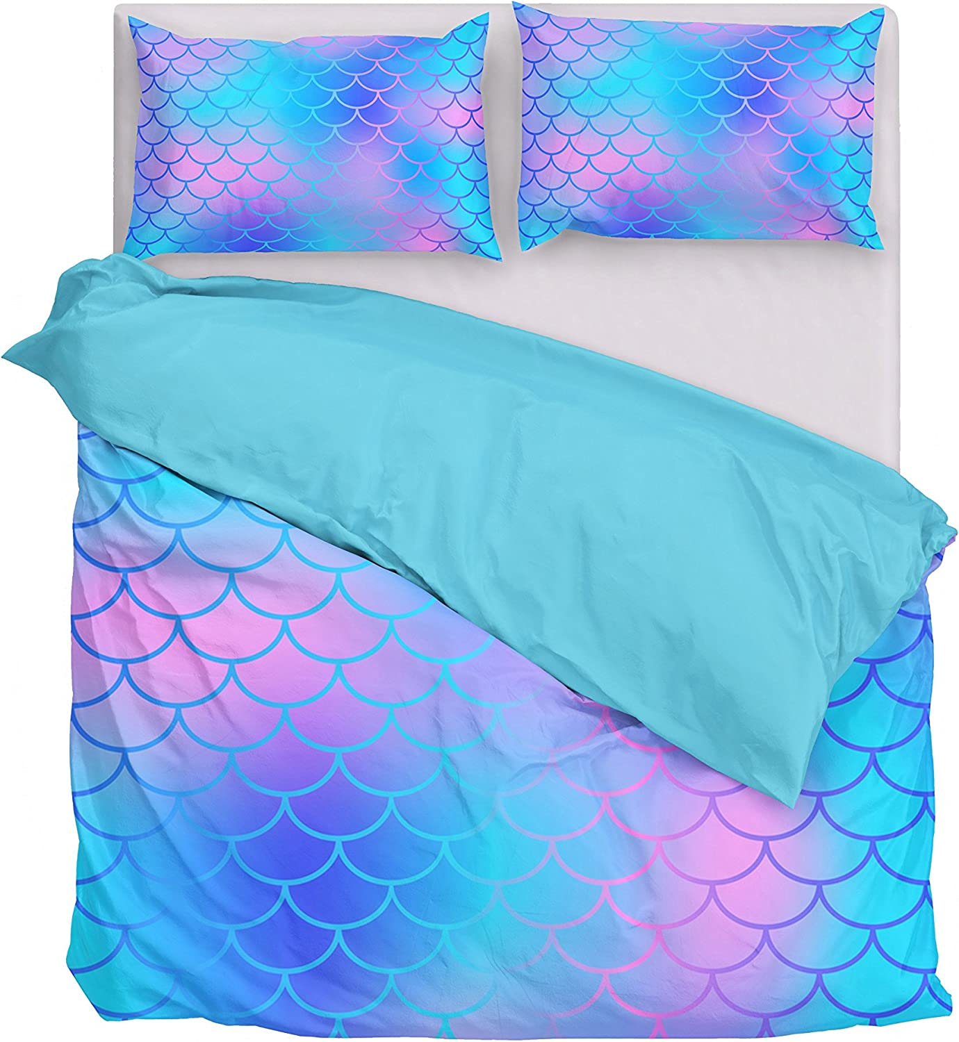 Amazon Com Dream Bay 3 Piece Duvet Cover Set Mermaid Fish Scales Printed Pattern Comforter Cover With Zippper Closure Duvet Cover With 2 Pillow Shams Queen Home Kitchen