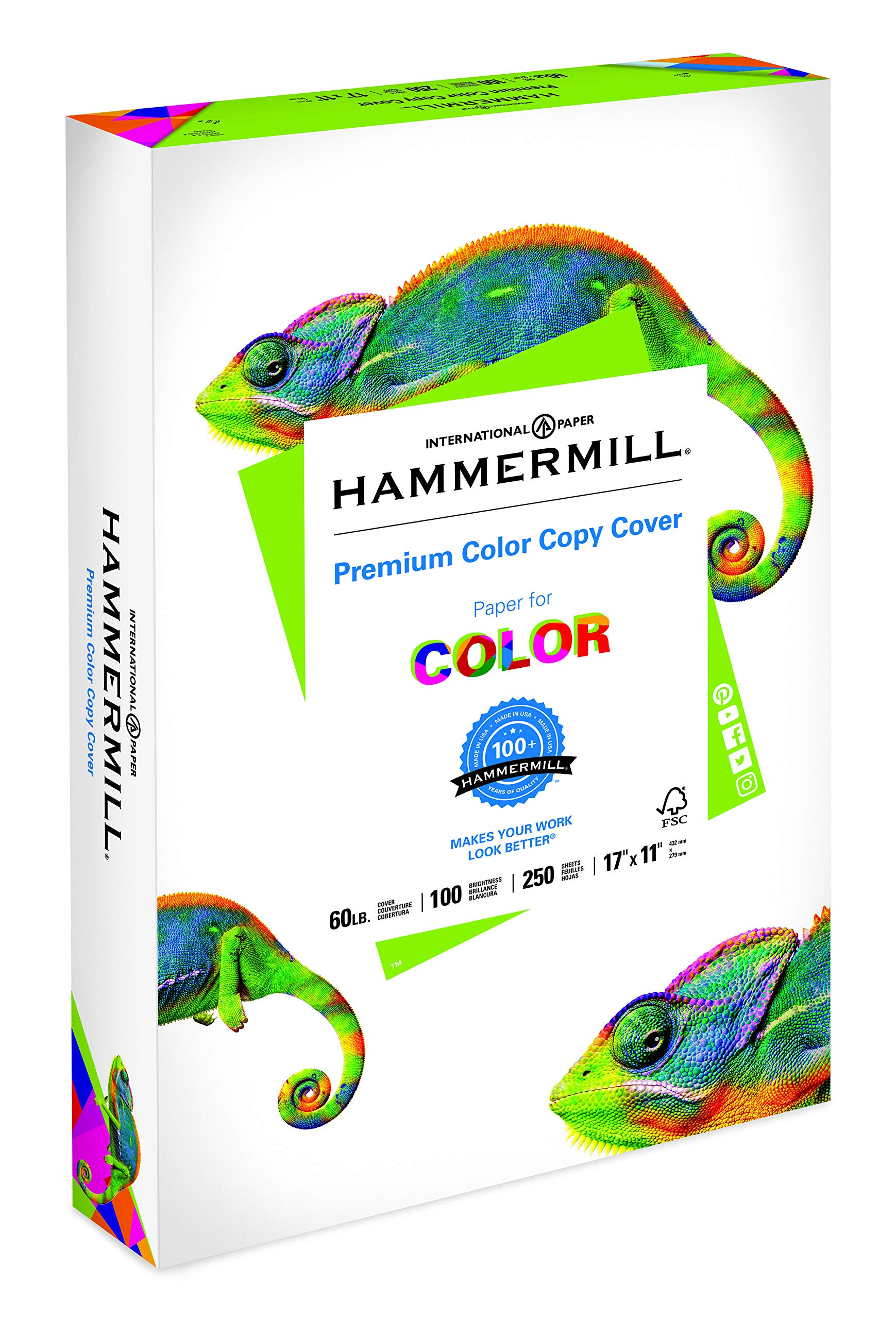 Hammermill Color Copy Digital Cover Stock, 11 x 17, White, Pack of 250 Sheets