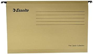 Esselte 93292 Classic - Carpeta colgante reforzada, Tamaño folio prolongado, Cartón kraft reciclado, Visor de plástico transparente, Color natural, Caja de ...