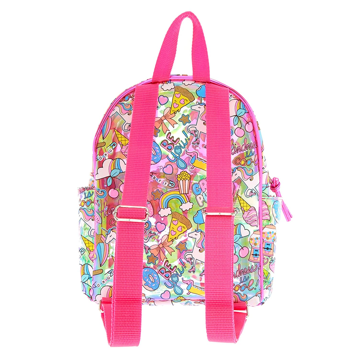 Amazon.com: Claires Girls Unicorn Fun Fair Holographic Translucent Backpack - S: Clothing