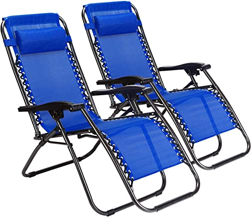 2-Pack Zero Gravity Outdoor Lounge Chairs Patio Adjustable Folding Reclining Chairs with Cup Drink Utility Tray Cell Phone Holder Blue
