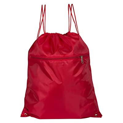 346e587e71ea 36 Pack Polyester Bulk Drawstring Backpack Bags with Front Zipper Pocket