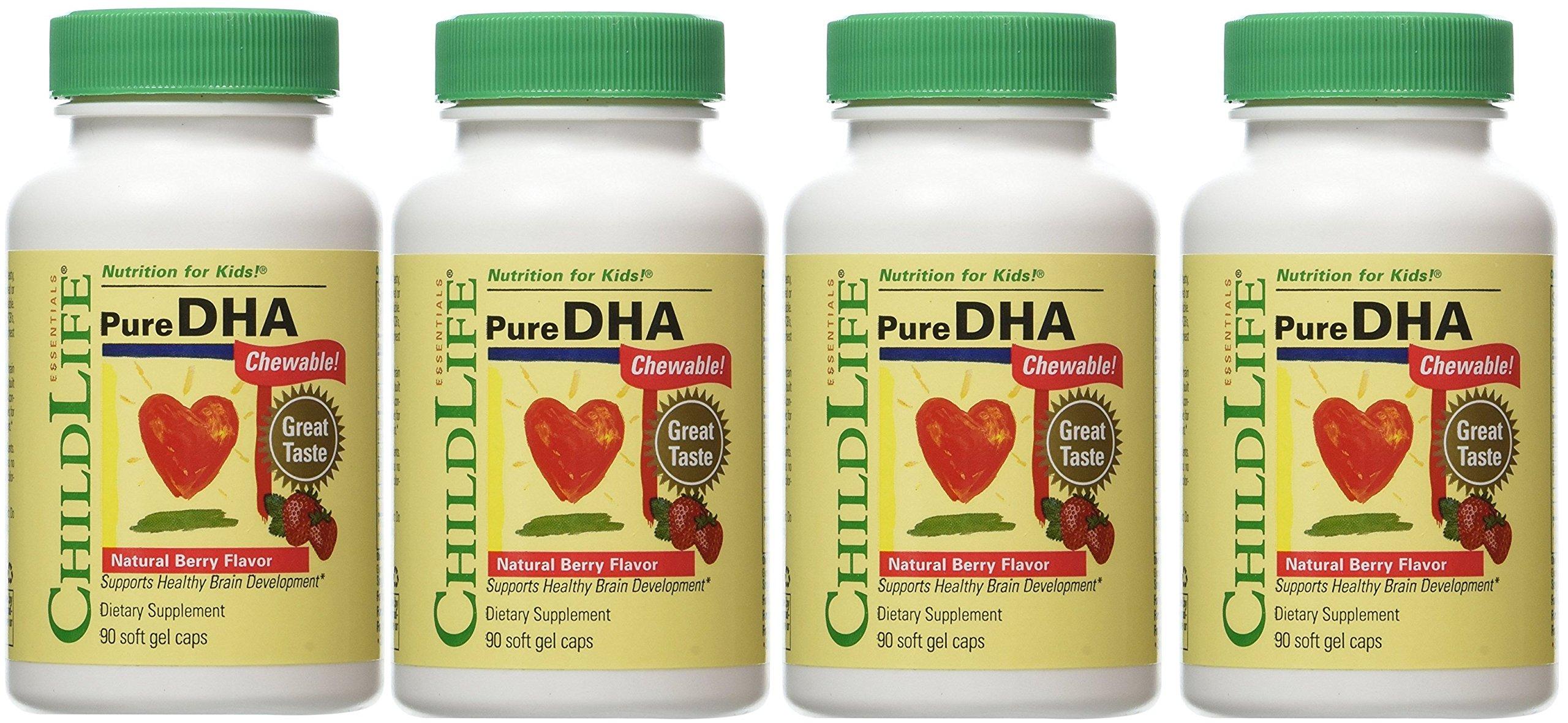ChildLife, Pure DHA Chewable, Natural Berry Flavor, 4Pack (90 Soft Gel Caps Each) Dvvle