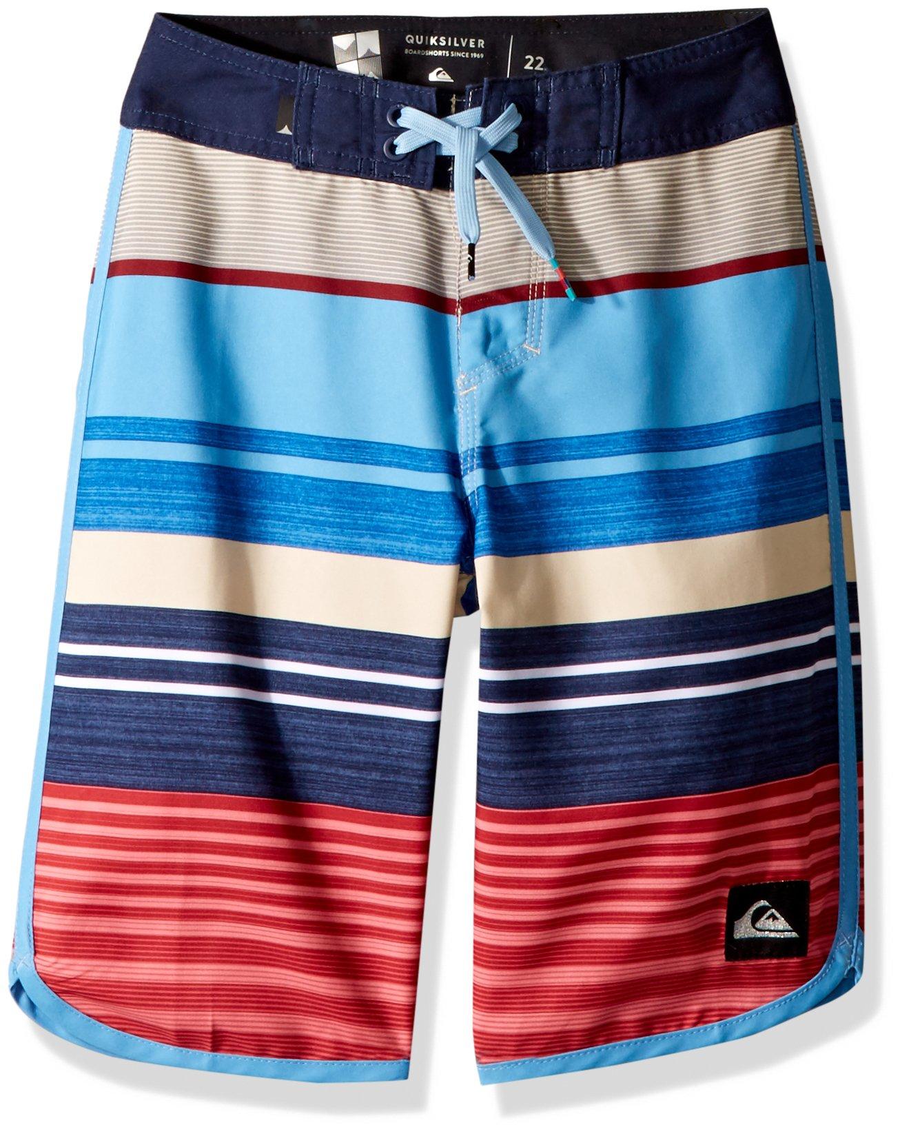 Quiksilver Big Boys' Eye Scallop Youth 19 Boardshort Swim Trunk, Mineral Red, 28/14