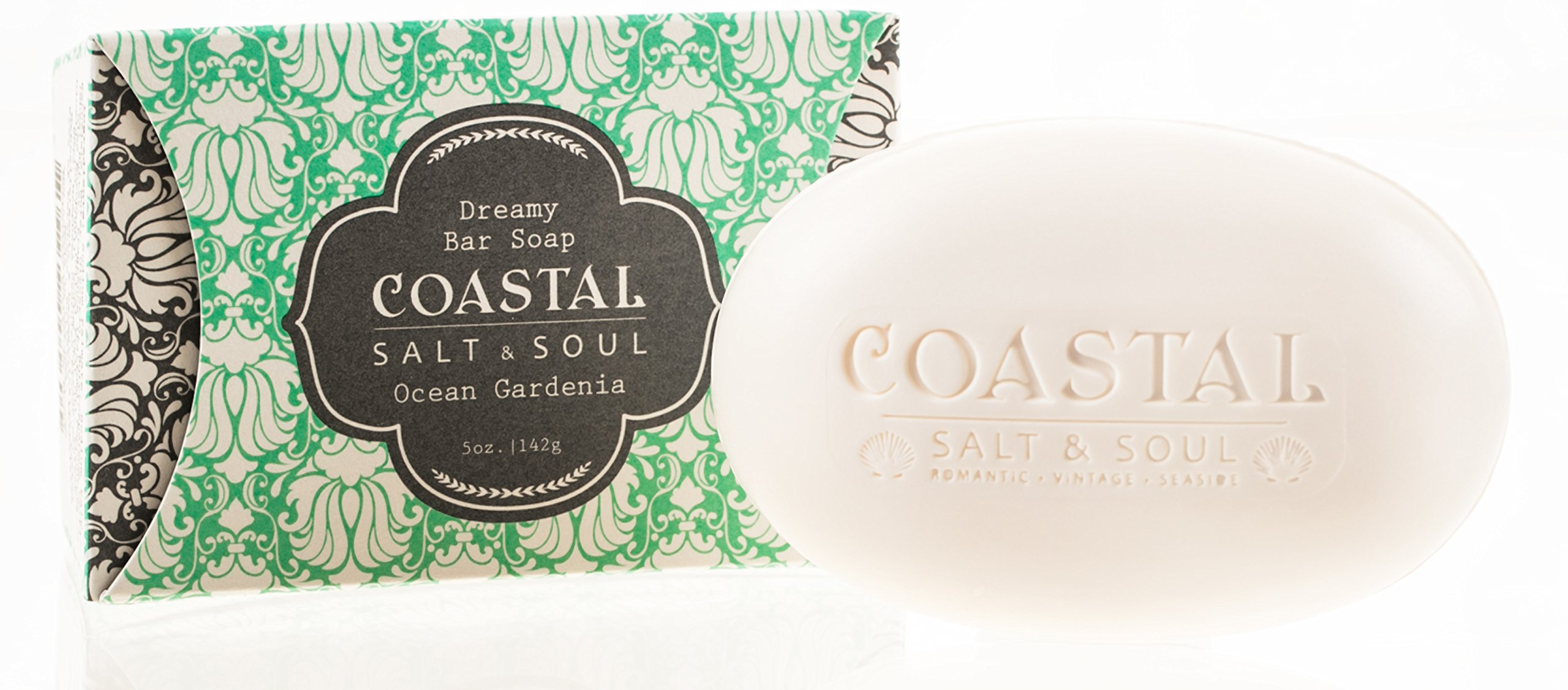 Coastal Salt & Soul, Natural Bar Soap, Super Hydration, with Pure Shea Butter, Olive Fruit Oil & Blue Lotus Extract, 5.0 oz., Ocean Gardenia