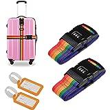 2個荷物ロックベルト LANMOK 2個セット スーツケースベルト 荷物タグ付属(2個) 調整可能 旅行 出張 ワンタッチ式 荷物梱包バンド 盗難防止 荷崩れ防止 レインボー