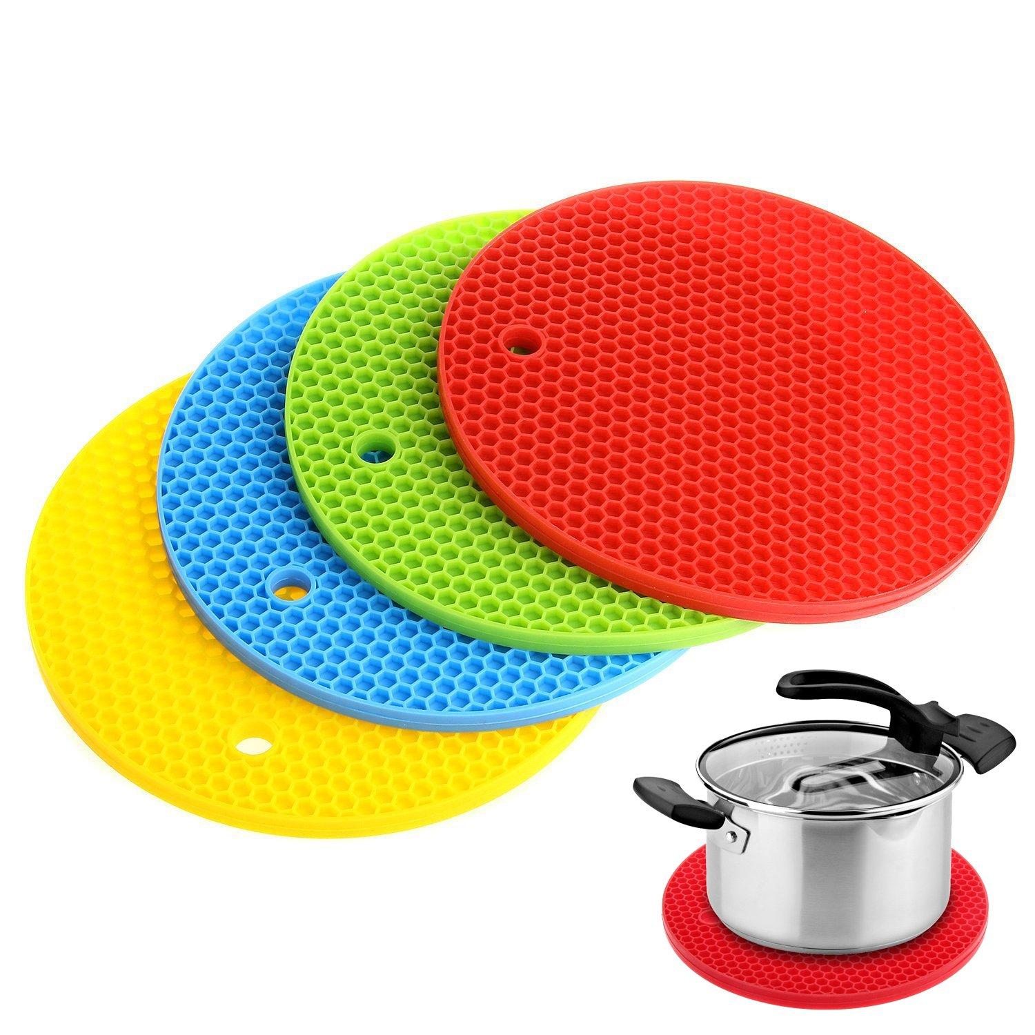 Silicone Pot Holder, Uniwit® 4 PCS Trivet Mat, Hot Pads, Perfect For Modern Home Decor, Silicone Heat Resistant Coasters,Cup Insulation Mat, Tableware Insulation Pad Potholders Insulation Non-slip Mat,Non Slip, Flexible, Durable, Heat Resistant by Uniwit®