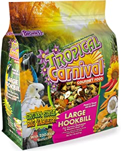 "F.M. Brown's Tropical Carnival Gourmet Bird Food for Parrots, African Greys, and Conures Under 13"", Probiotics for Digestive Health, Vitamin-Nutrient Fortified Daily Diet"