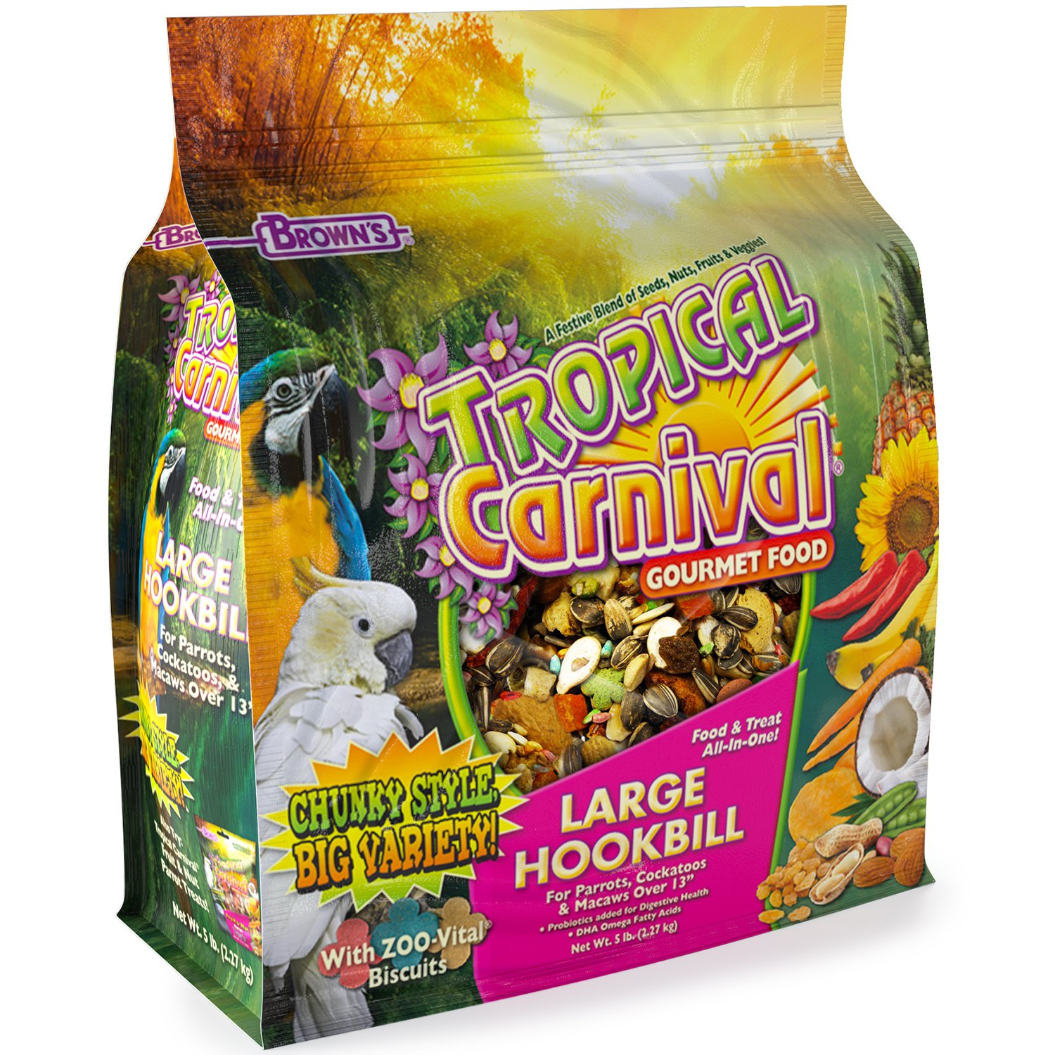 F.M. Brown's Tropical Carnival Large Hookbill Food for Parrots, Cockatoos and Macaws Over 13 in. , Vitamin-Nutrient Fortified Daily Diet by Tropical Carnival