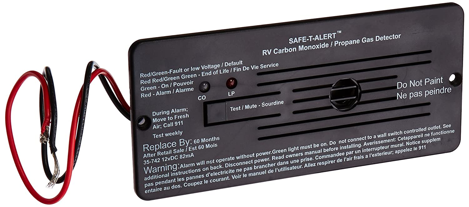 Safe-T-Alert by MTI Industries 35-742-BL Dual LP CO Alarm-12V, 35 Series Flush Mount, Black