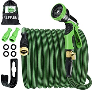 """【2020】Garden Hose Expandable 50ft, Self-Locking Leakproof Water Hose with 9 Functions Nozzle,Flexible Durable Hose with Double Latex Core 3/4"""" Solid Brass Extra Strength Fabric Hose"""