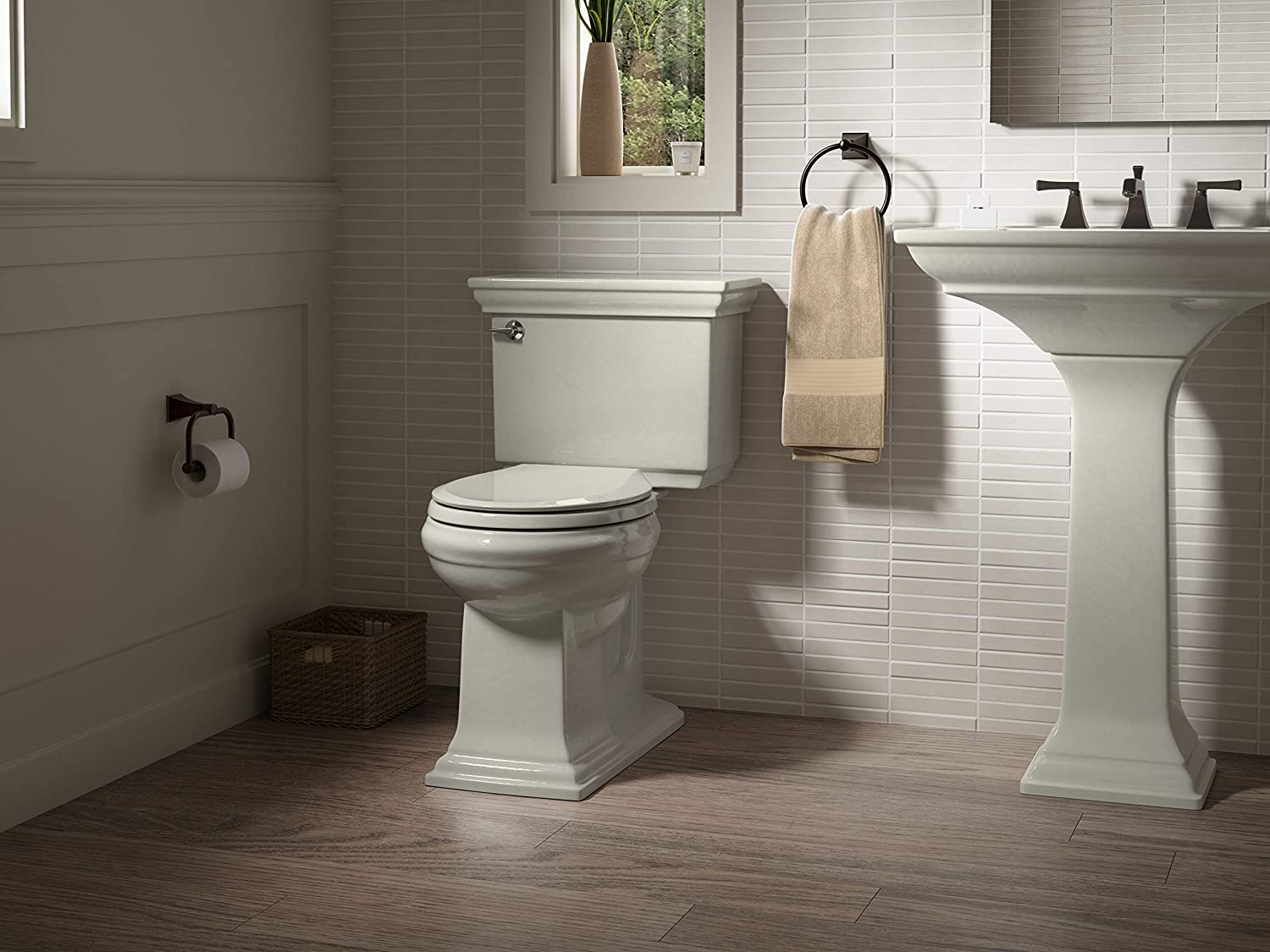 KOHLER K-4636-47 Cachet Quiet-Close with Grip-Tight Bumpers Elongated Toilet Seat Almond