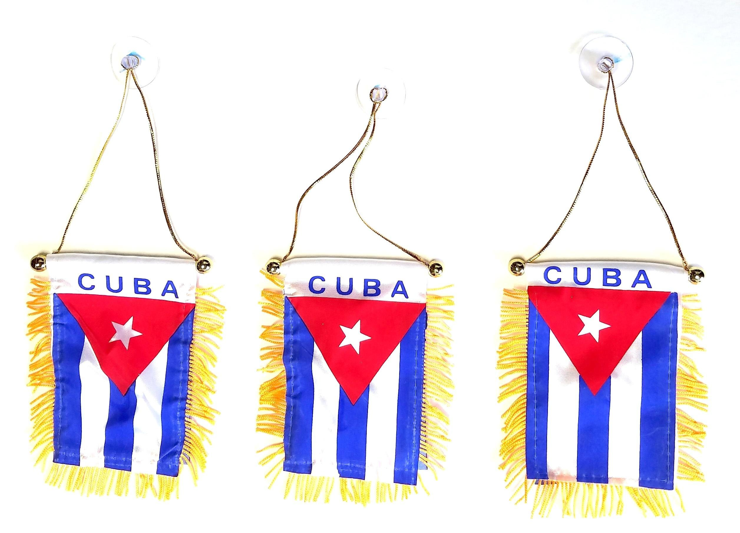 3 Pack CUBA Mini Window Banner Hanging Flag Home and Auto