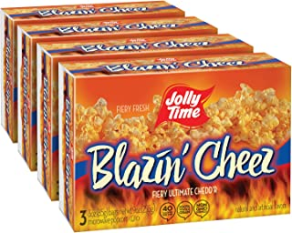 product image for JOLLY TIME Blazin' Cheez | Spicy Cheddar Cheese Microwave Popcorn with Bold & Savory Flaming Hot Red Pepper & Chilli Flavor (3-Count Boxes, Pack of 4)