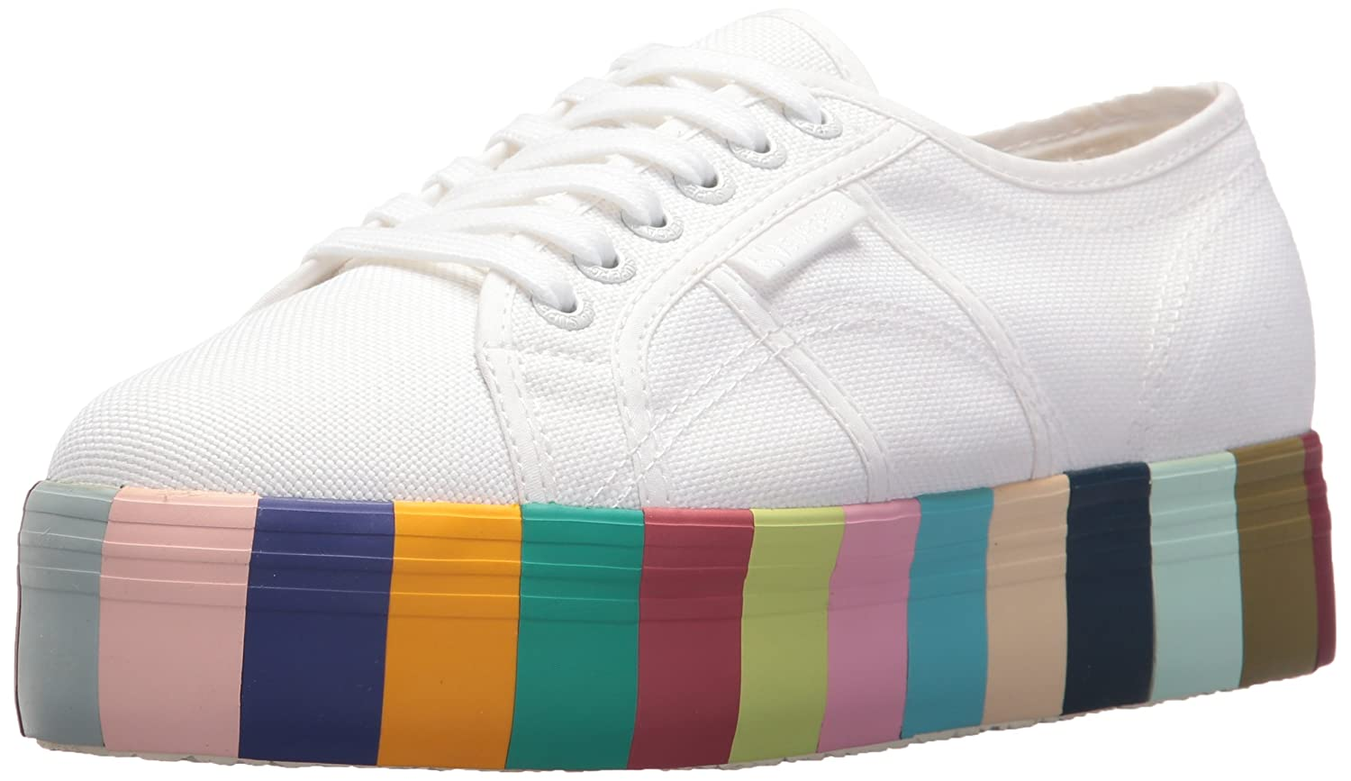 Superga Women's 2790 COT14COLORSFOXINGW Sneaker B073ZMF8MC 38 M EU (7.5 US)|White Multi
