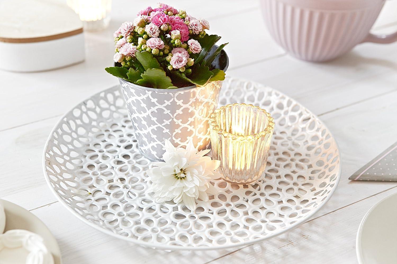 sch/öne Dekoration f/ür Haus und Wohnung Teller aus Metall oval mit Ornamenten Tischdeko Heitmann Deco