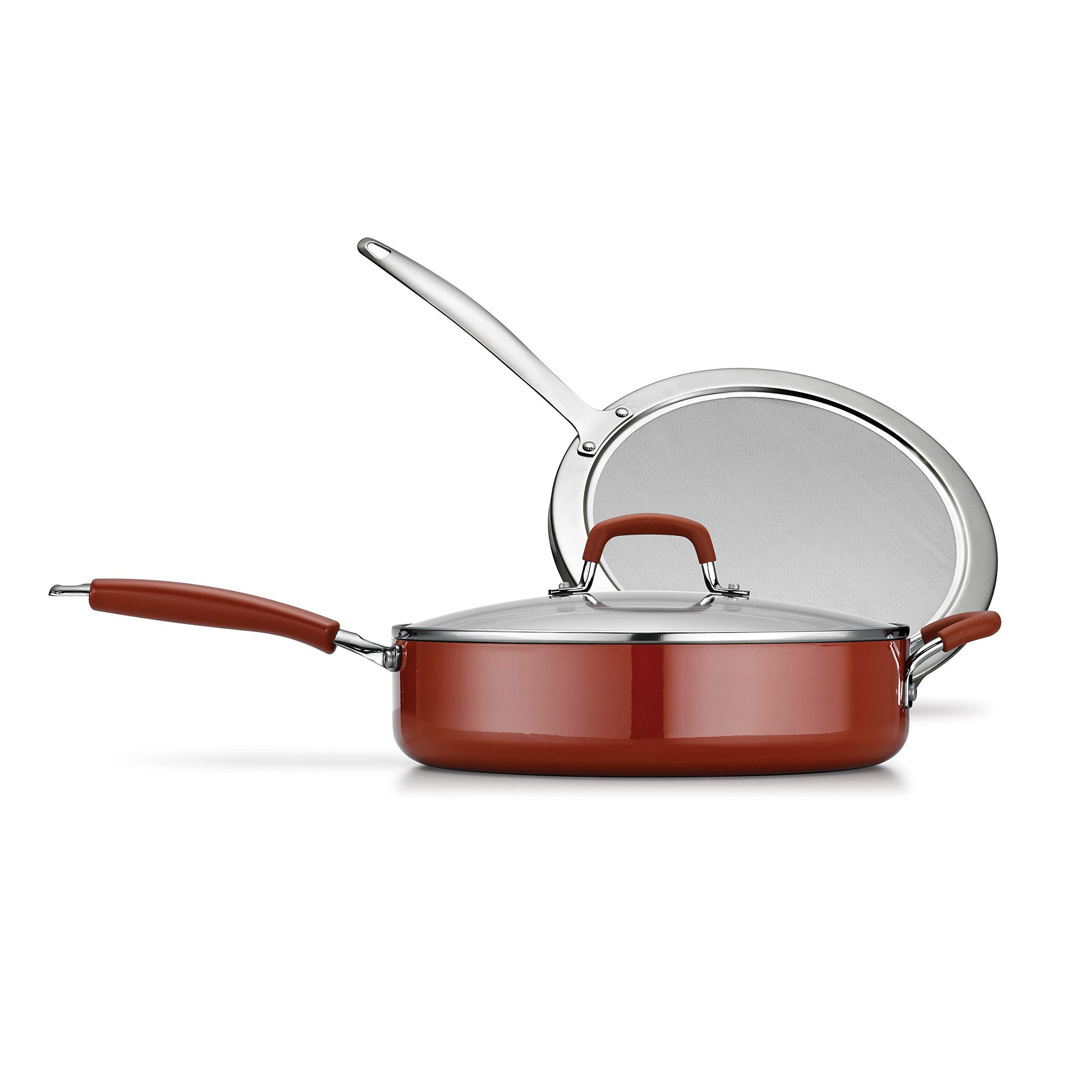 Tramontina 80151/504 Simple Cooking Aluminum Red Handles, 3 Piece, Porcelain Enamel Deep Saute Set, Spice