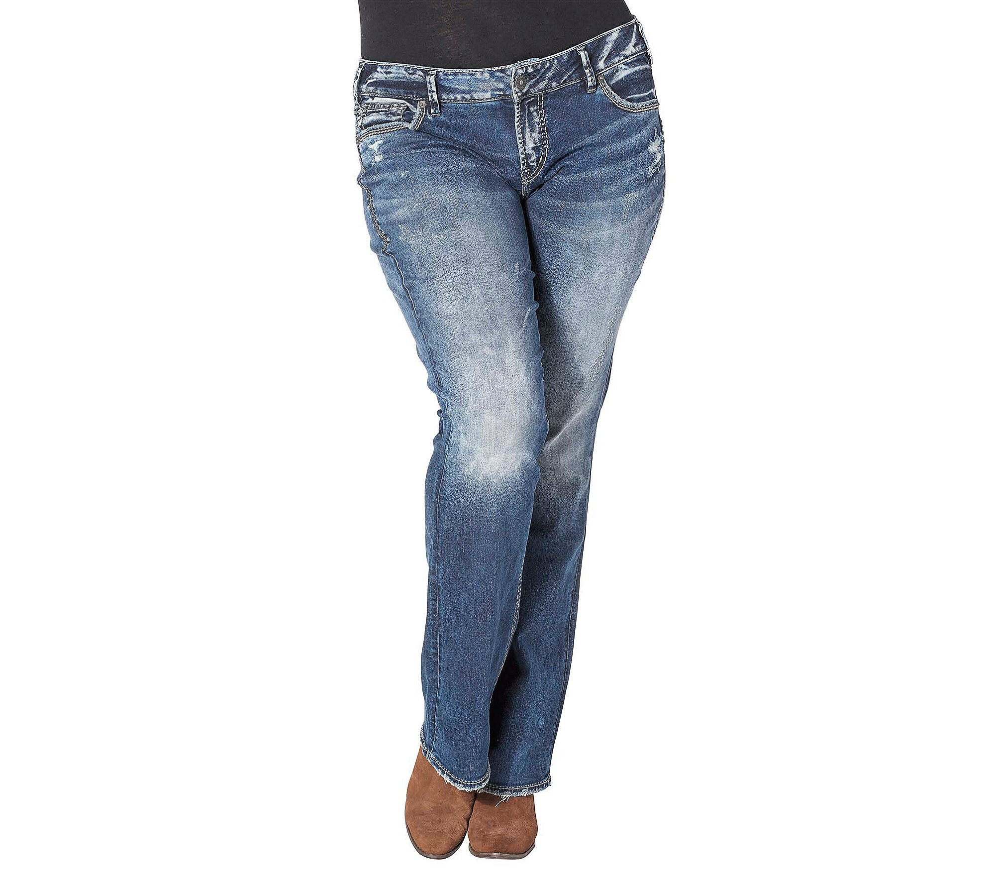 Silver Jeans Co. Plus Size Elyse Mid Bootcut Jeans 20W Short