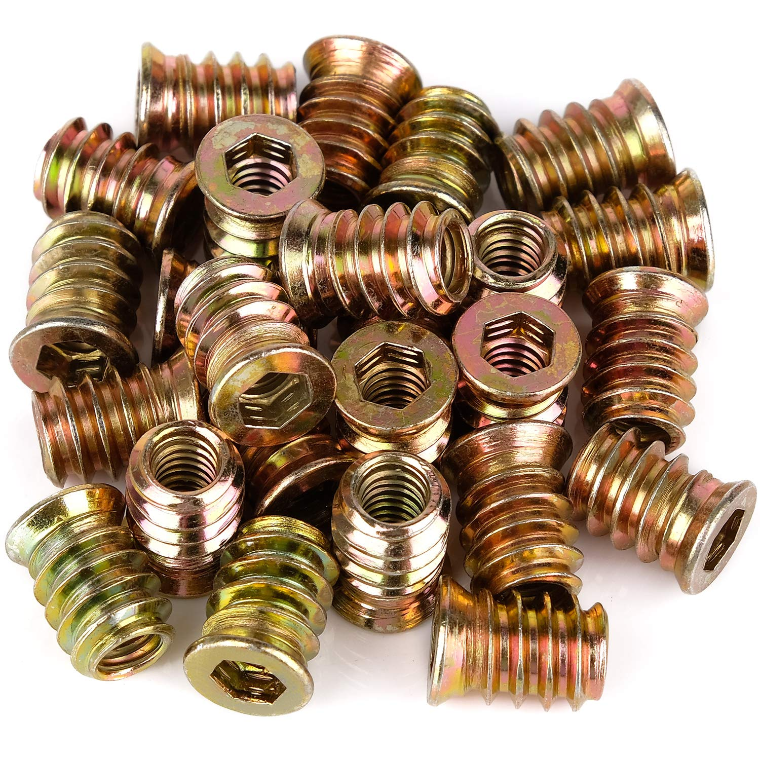 40Pcs Anwenk 1/4''-20 x 15mm Furniture Screw in Nut Threaded Wood Inserts Bolt Fastener Connector Hex Socket Drive for Wood Furniture Assortment