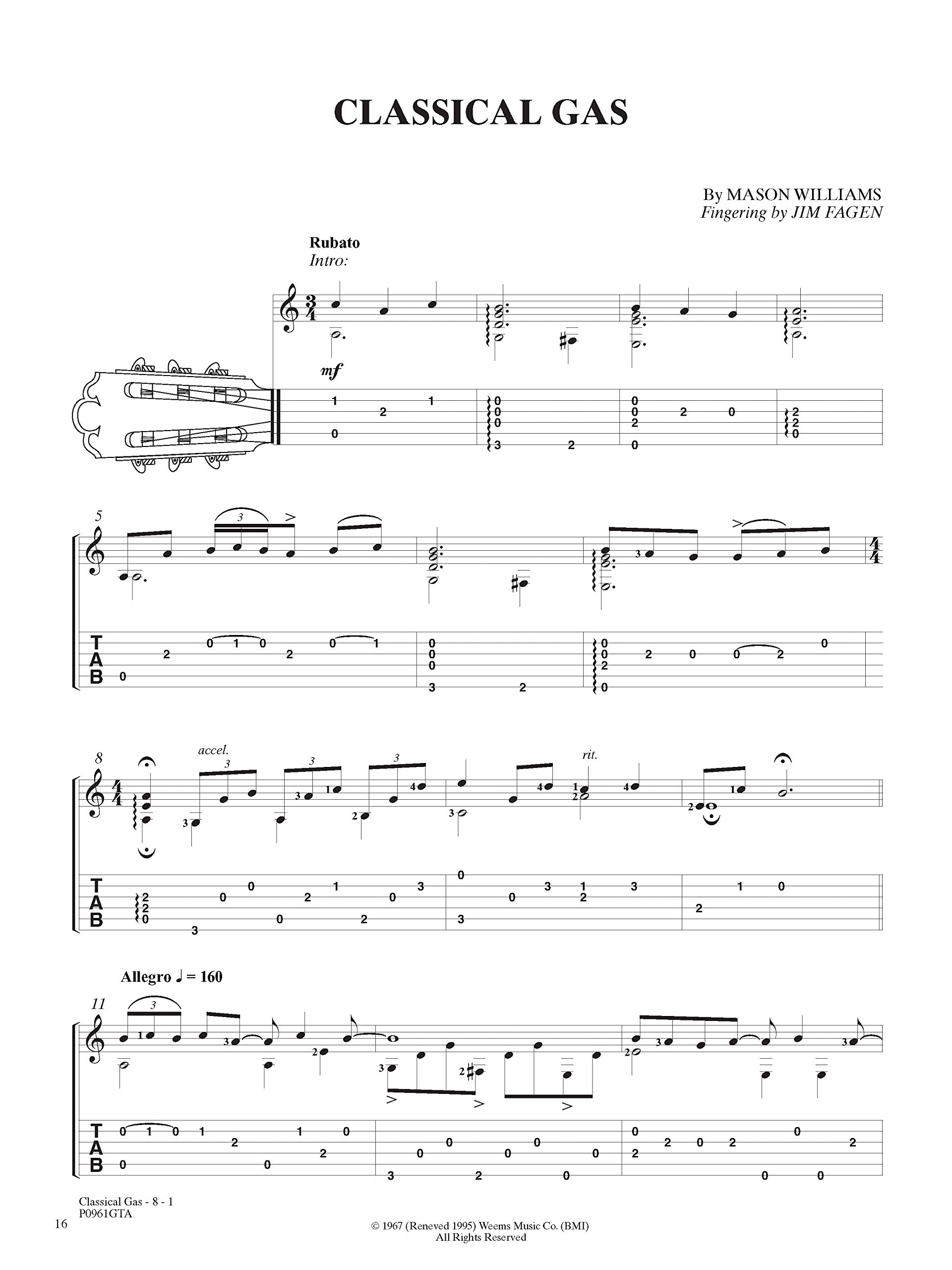 Classical Gas -- The Music of Mason Williams: Guitar Tab, Book ...
