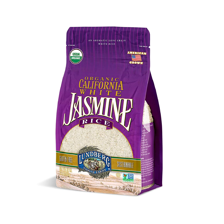 Lundberg Organic California White Jasmine Rice, 2lb (6 count), Gluten-Free, Non-GMO Project Verified, USDA Certified Organic, Vegan, Kosher