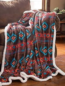 Carstens, Inc Carstens Wrangler Southwest Horizon Rustic Sherpa Fleece 54x68 Throw Blanket, Brown