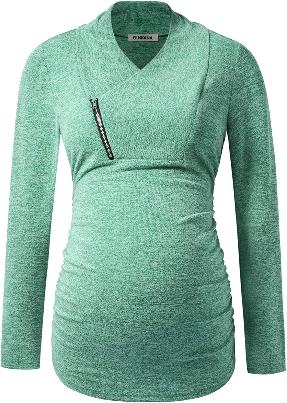 GINKANA Maternity Sweatshirt Maternity Shirts Long Sleeve Tops Cowl Neck Zip Casual Pullover Clothes