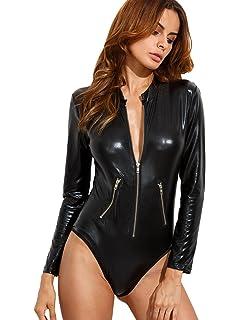 ohyeahgirl Faux Leather Bodysuit Deep V Neck Teddy Long Sleeve Clubwear Tops for Women
