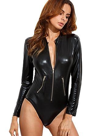 ba40ad5890 Verdusa Women's Long Sleeve Faux Leather Zip Detail Sexy Bodycon Clubwear  Bodysuit Black S