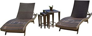 Christopher Knight Home Salem Outdoor Wicker Adjustable Chaise Lounge Set, 5-Pcs Set, Brown