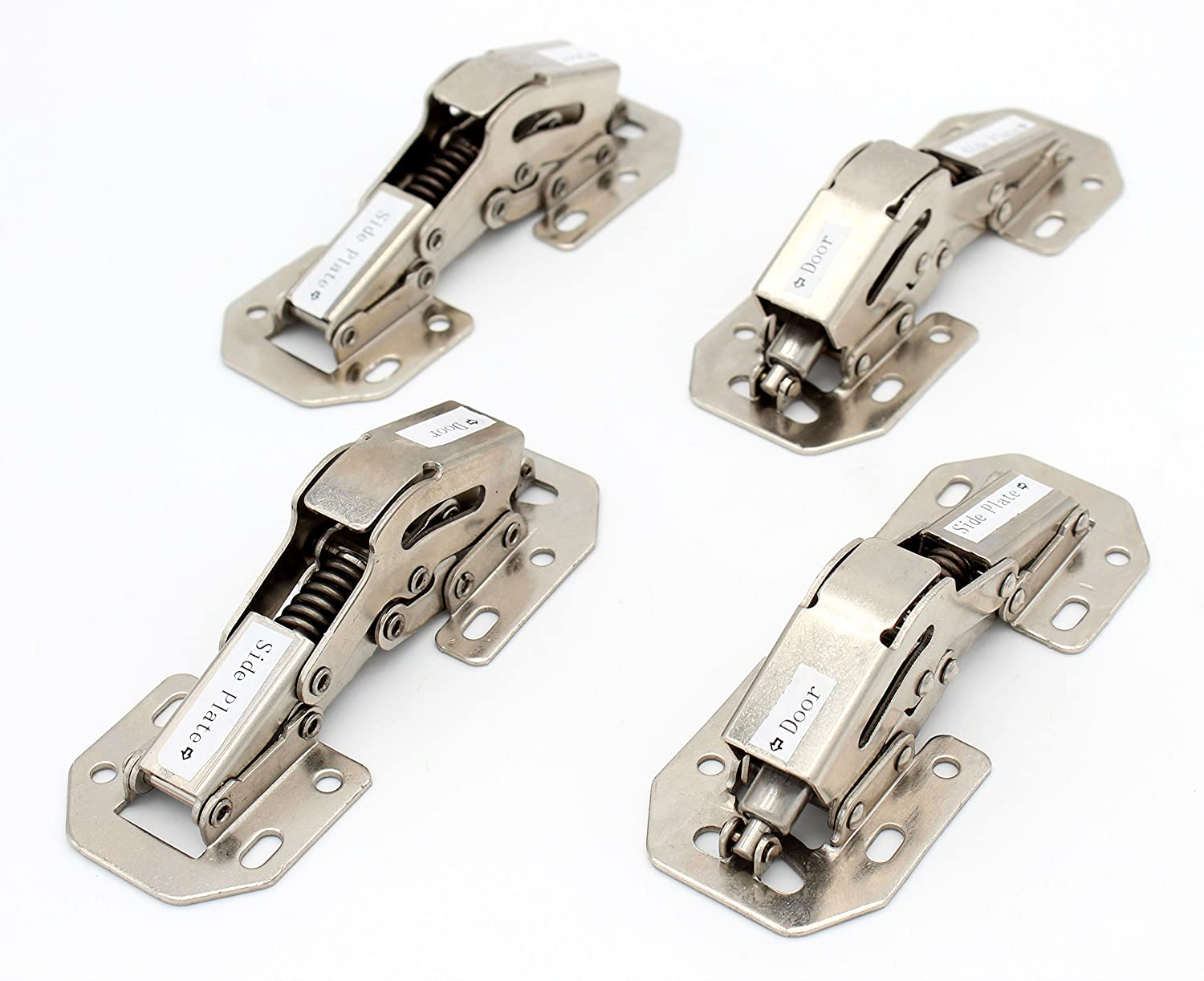 """Tueascallk 4.4"""" x 1.7"""" No Need to Grooving, Easy to Install Cabinet Door Soft Close Damping Hinges, Nickel, 4 Packs"""