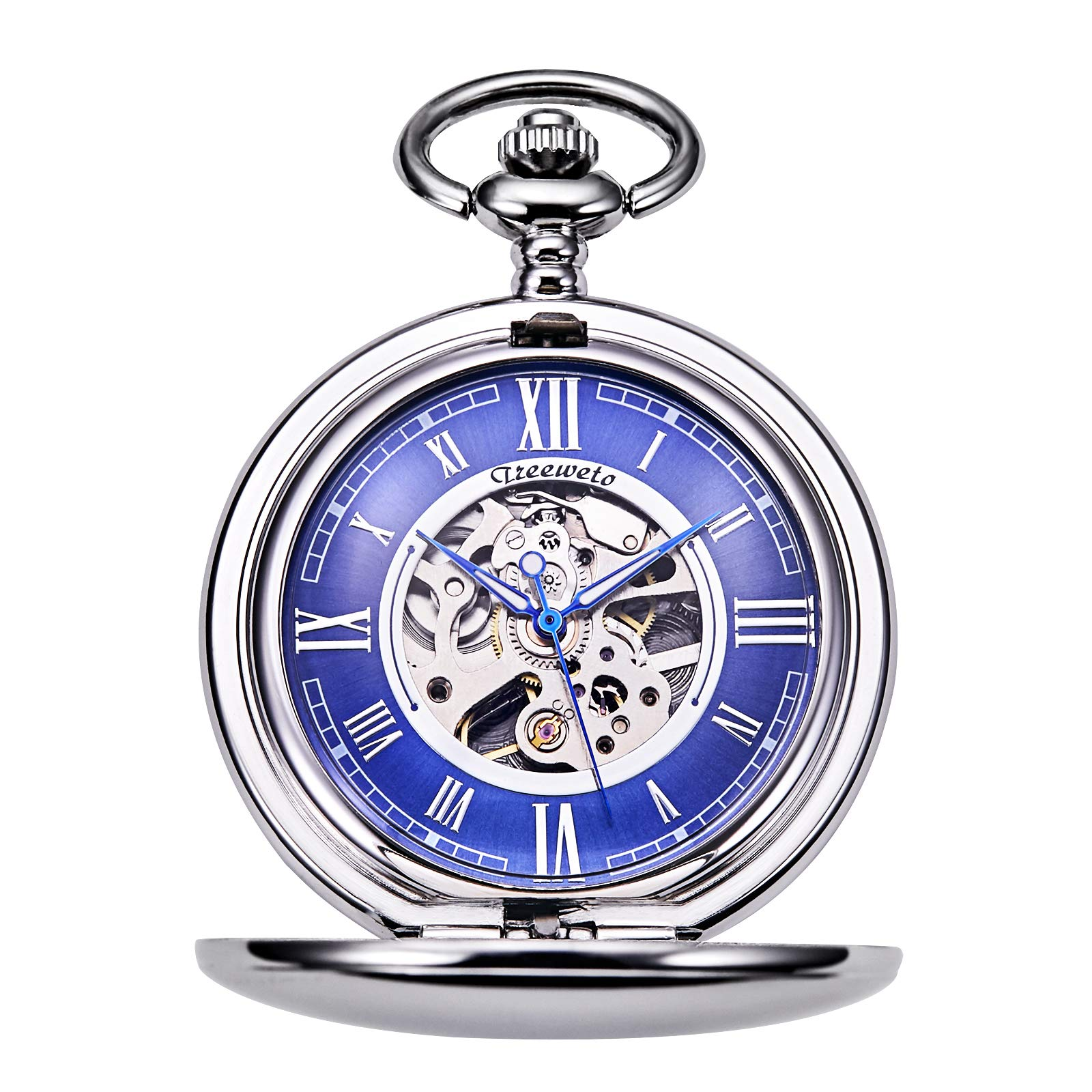 TREEWETO Pocket Watch - Smooth Double Case Series Skeleton Dial Delicate Mechanical Movement with Chain, Silver by TREEWETO