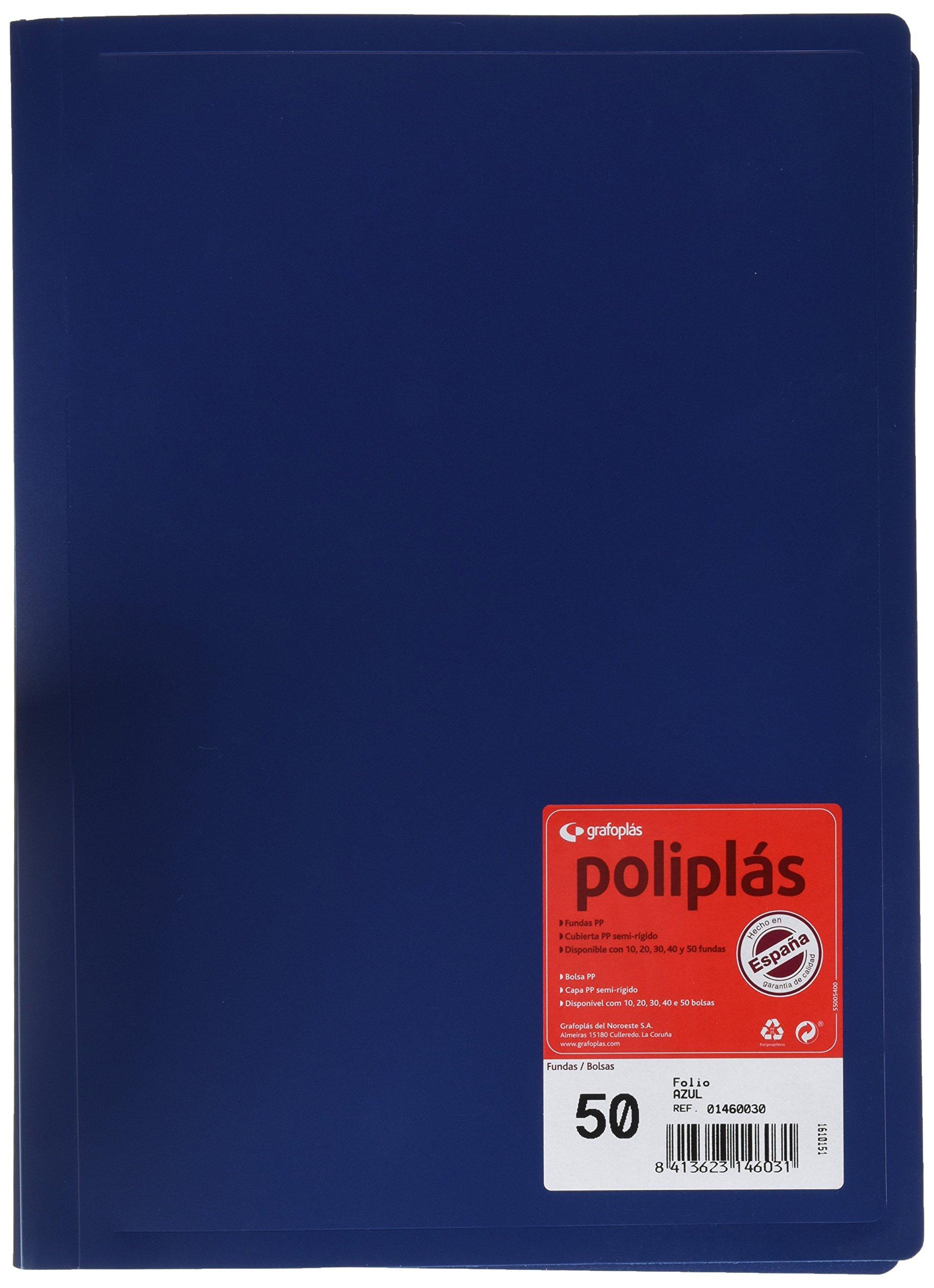 grafoplas 1460030–50Sleeves, Foolscap, Tapas Folder PP, Blue