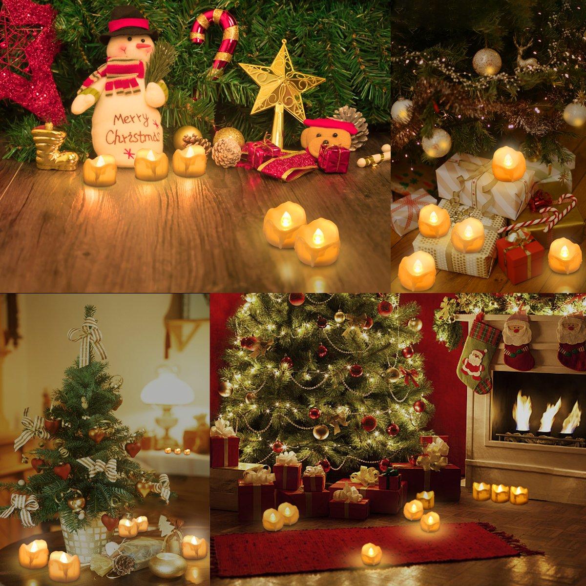 AMIR Velas LED, 12 candelitas LED con temporizador, velas sin llama, velas con pilas LED con función de temporizador para Navidad, accesorios para el hogar, ...