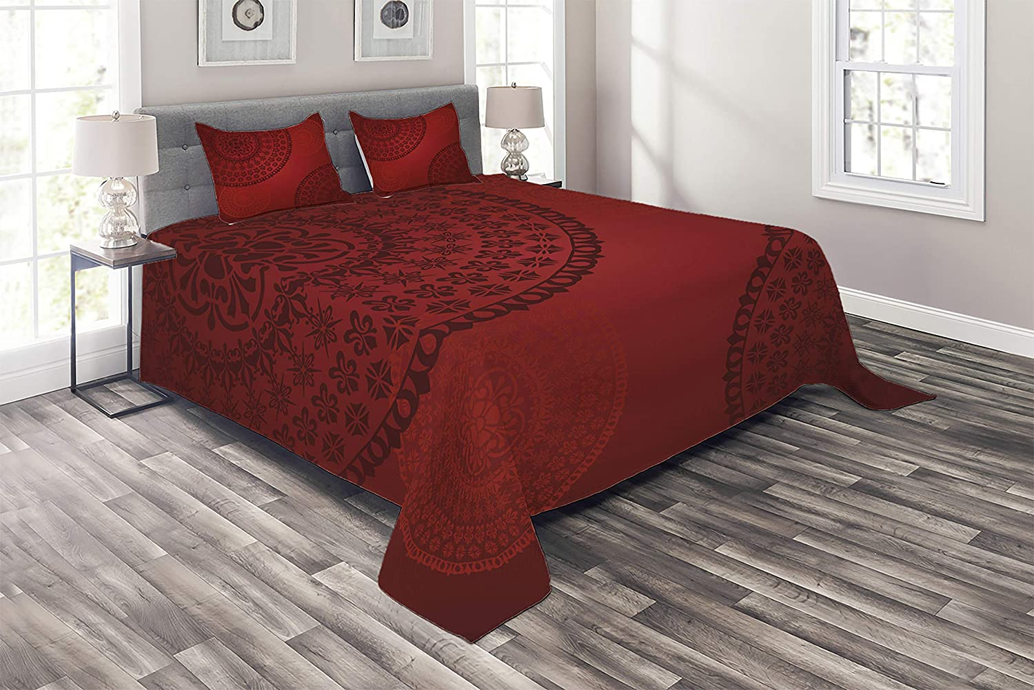 Lunarable Burgundy Coverlet, Old Fashioned Floral Oriental Round Mandala Motifs Traditional Design, 3 Piece Decorative Quilted Bedspread Set with 2 Pillow Shams, King Size, Burgundy Red