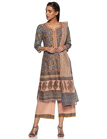 495c1eac249 BIBA Women s Cotton straight Salwar Suit Set  Amazon.in  Clothing ...