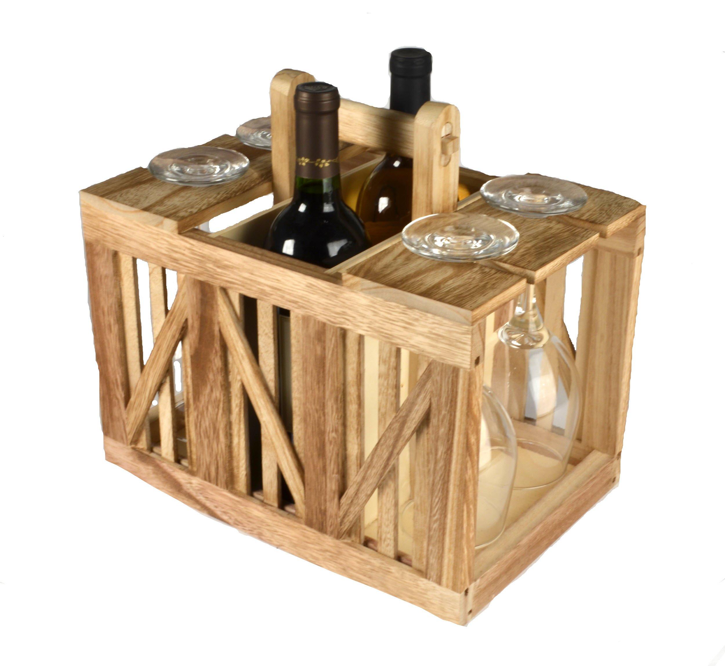 Artland 22109 Home Mixology Wine Caddy Wood Crate, Beige