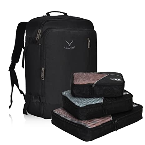 f25c4e84bbb3 Hynes Eagle 38L Flight Approved Weekender Carry on Backpack (Black with  3PCS Packing Cubes)  Amazon.ca  Luggage   Bags