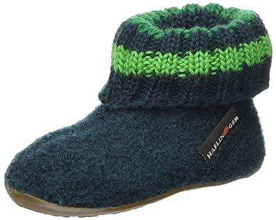 Haflinger 481007 Everest Pablo Kinder Hausschuhe Hüttenschuhe Wolle, Größe:29, Farbe:Grün