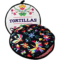 "TWO SIDED! Tortilla Warmer, Size 11"" Insulated and Microwaveable, Fabric Pouch Keeps Them Warm for up to One Hour…"