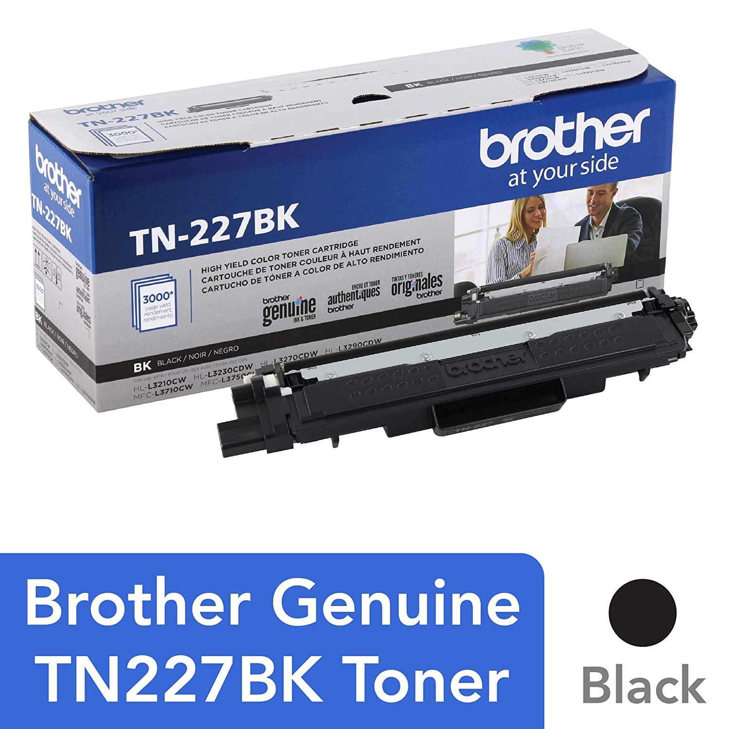 Brother Genuine TN227, TN227BK, High Yield Toner Cartridge,Replacement Black Toner, Page Yield Up to 3,000 Pages, TN227BK, Amazon Dash Available