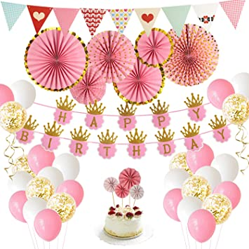 Birthday Party Decoration Pink and Gold Girls 1st Theme Kit Set Happy  Birthday Banner for Queen
