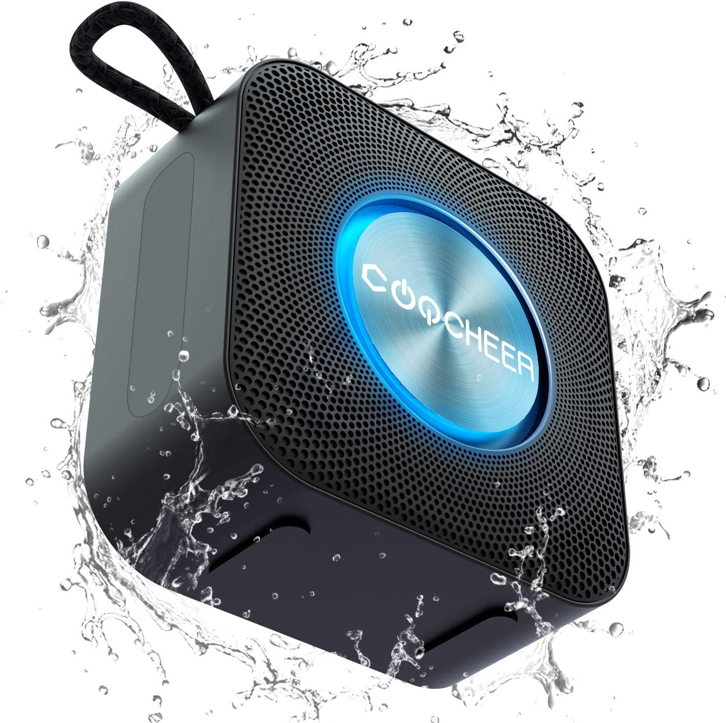 Portable Speaker Bluetooth, COOCHEER Wireless Speaker with LED Party Light 5W Loud Stereo Sound & Enhanced Bass Speaker Bluetooth 5.0, Built-in Mic, IP6 Waterproof for Party, Shower, Outdoor, Travel