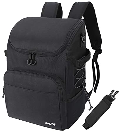 MIER Leakproof Cooler Backpack Insulated Lunch Bag for Men Women to Picnic, Beach, Grocery, Kayak, Hiking, Travel, 30Can, Black