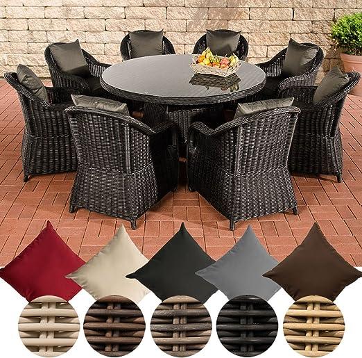 CLP de ratán sintético, conjunto de comedor de jardín Stavanger XL, negro, 8 sillas + mesa redonda diámetro 150 cm + cojines de asiento, black, Cushion: Anthracite: Amazon.es: Jardín