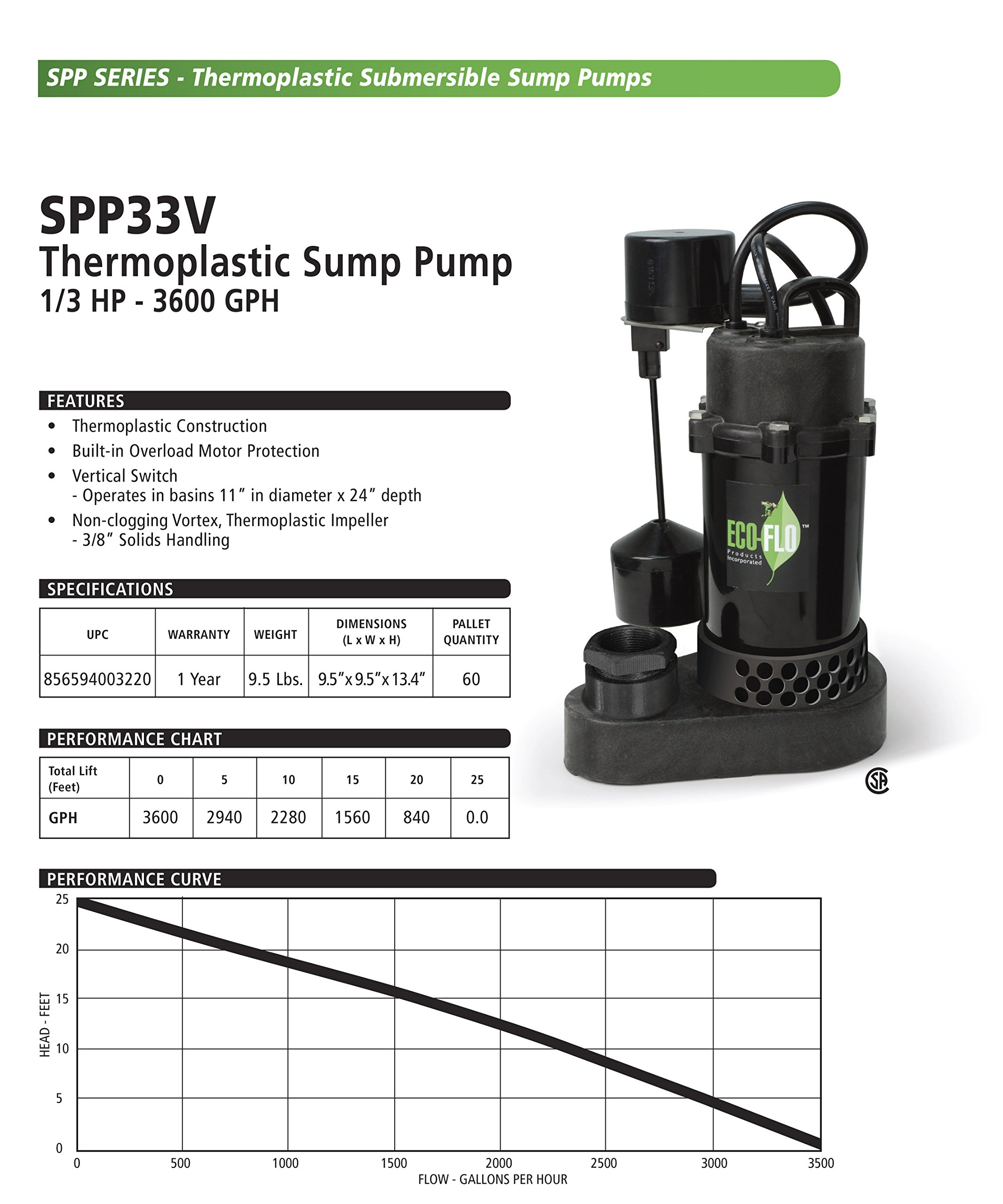 ECO-FLO Products SPP33V Thermoplastic Sump Pump with Vertical Switch, 1/3 HP, 3,600 GPH by ECO-FLO Products (Image #2)