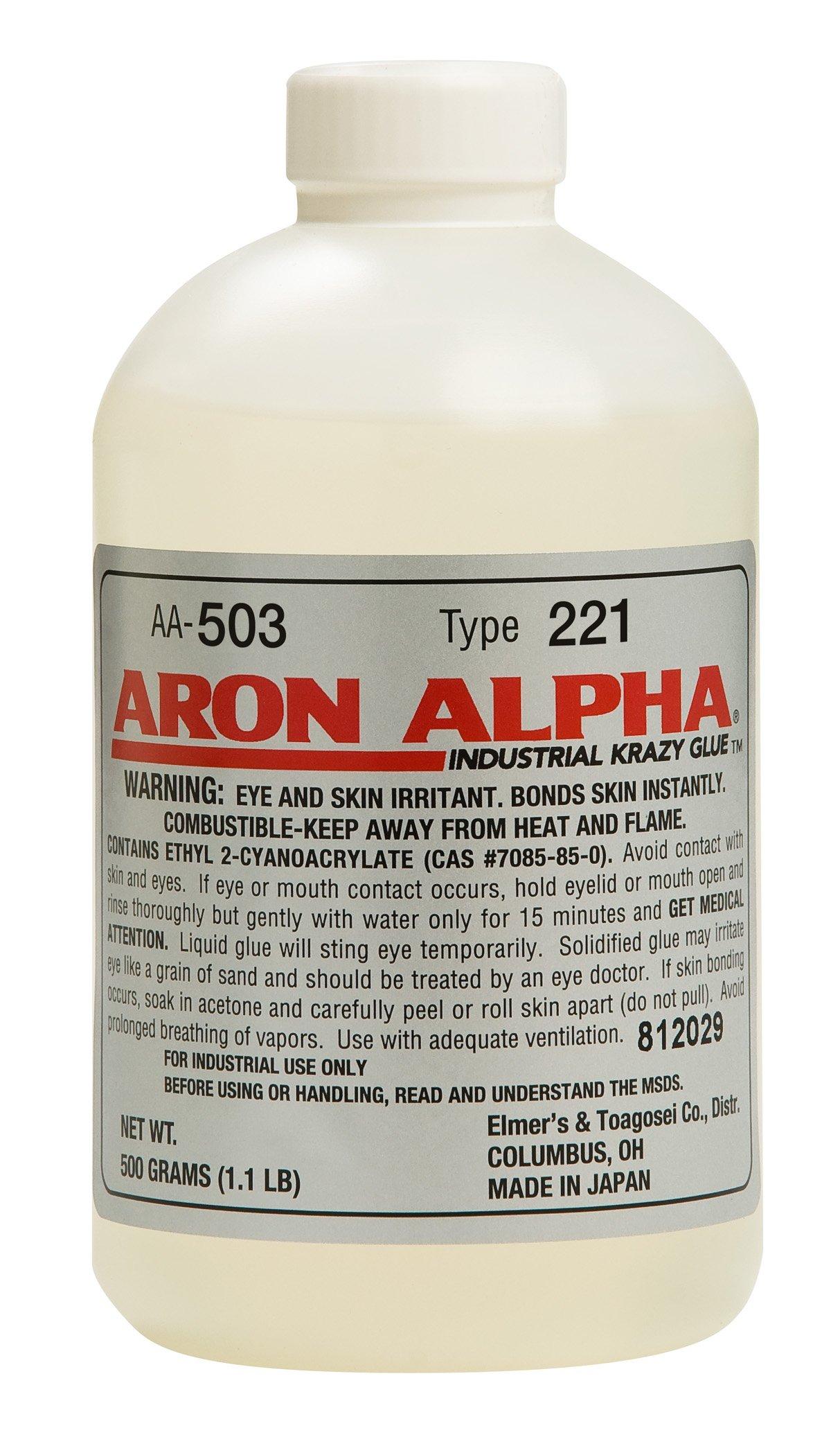 Aron Alpha Type 221 (2 cps viscosity) Fast Set Instant Adhesive 500 g (1.1 pound) Bottle