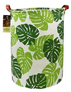 HUNRUNG Large Canvas Fabric Lightweight Storage Basket/Toy Organizer/Dirty Clothes Collapsible Waterproof for College Dorms, Kids Bedroom,Bathroom,Laundry Hamper (Round Leaf)