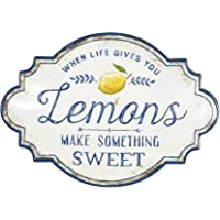 Creative Co-Op Life Gives You Lemons Make Something Sweet Metal Decoración para pared, color blanco