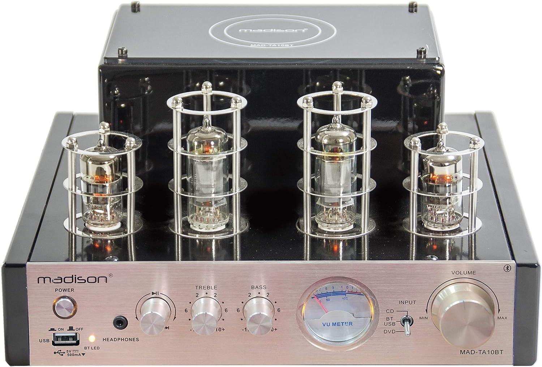 Madison - MAD-TA10BT - Amplificador (estéreo de válvulas 2 x 25 W rms), Negro